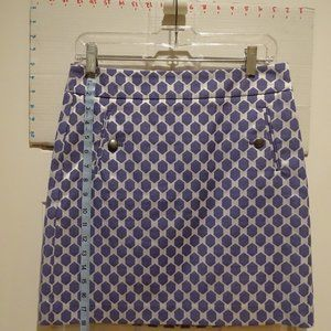 """LOFT Skirts - 18"""" Skirt Purple-y on shiny white. Pewter buttons."""